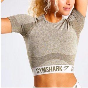 Gymshark Flex Short Sleeve Crop Workout Top Khaki